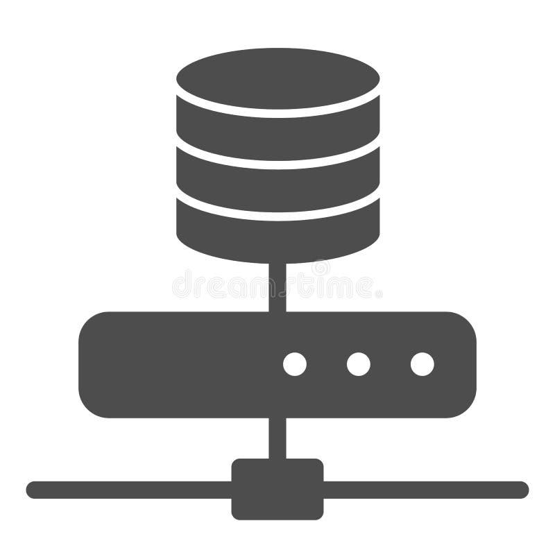 Ikona krycia magazynu danych Ilustracja wektora serwera komputera wyizolowana na bieli Projektowanie stylu glifów baz danych ilustracja wektor