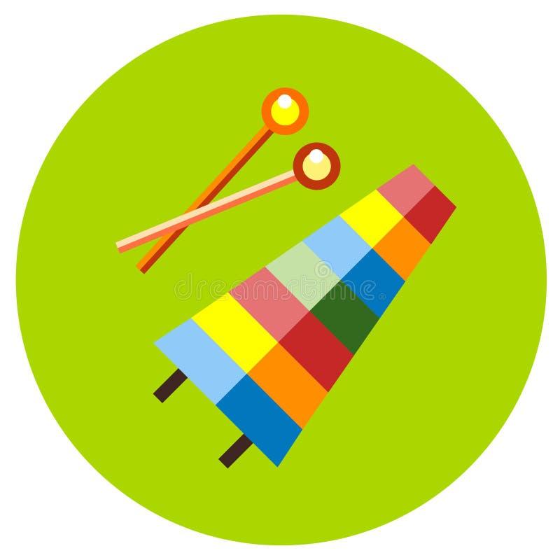 Ikona ksylofon zabawki w mieszkanie stylu Wektorowy wizerunek na round barwionym tle Element projekt, interfejs ilustracja wektor