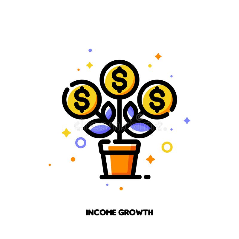 Ikona kwitnący pieniądze drzewo z dolarowymi znakami dla pieniężnej wartości równomiernego przyrosta lub dochodu przyrostowego po ilustracji