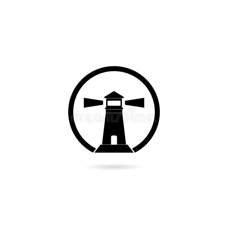 Ikona latarni morskiej izolowana na białym tle royalty ilustracja