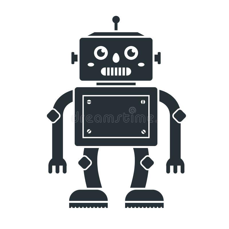 Ikona ?liczny robot bawi si? na bia?ym tle royalty ilustracja