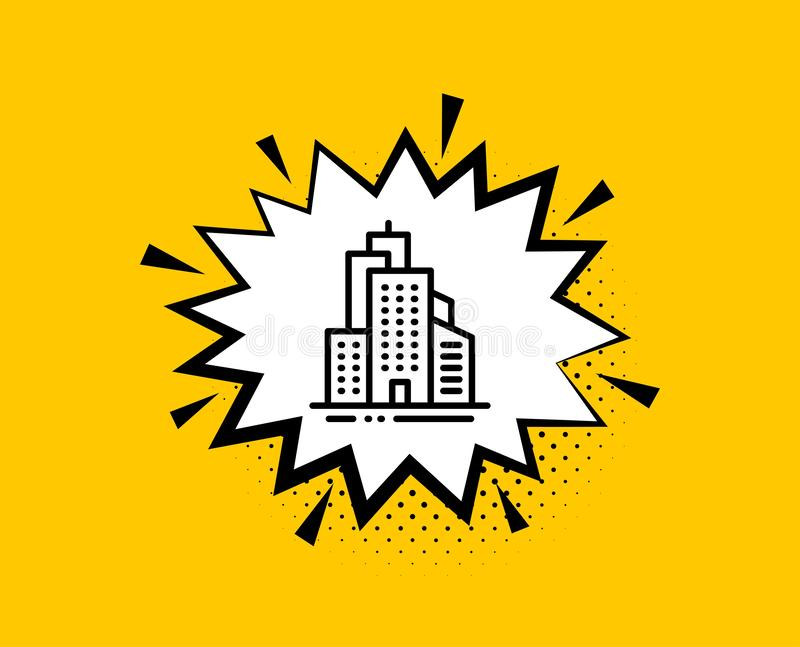 Ikona linii budynków programu Skyscraper Znak architektury miasta Miasto Wektor royalty ilustracja