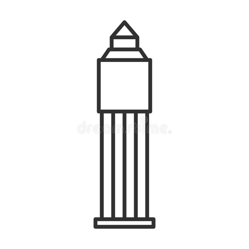 Ikona linii konstrukcyjnej pakietu Office w obudowie typu tower, kontur znaku wektorowego, piktogram liniowy izolowany na białym  ilustracja wektor