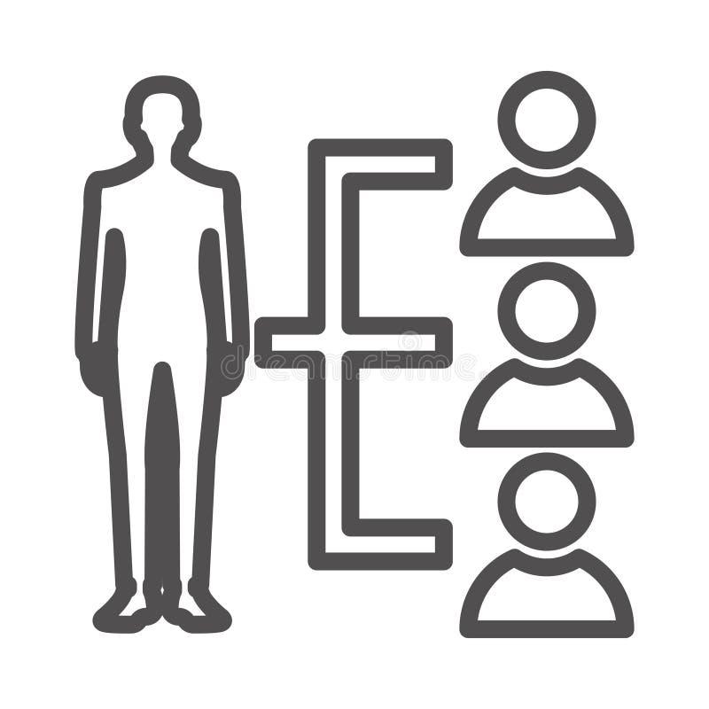 Ikona linii wektorowej linii wiodącej (izolowana grafika) Styl w formacie EPS 10 — koncepcja biznesowo-biurowa dotycząca prostych royalty ilustracja
