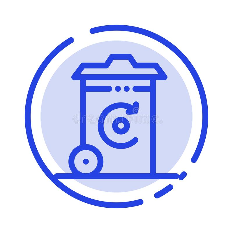 Ikona linii z kropką w kolorze pojemnika, recyklingu, energii, kosza royalty ilustracja