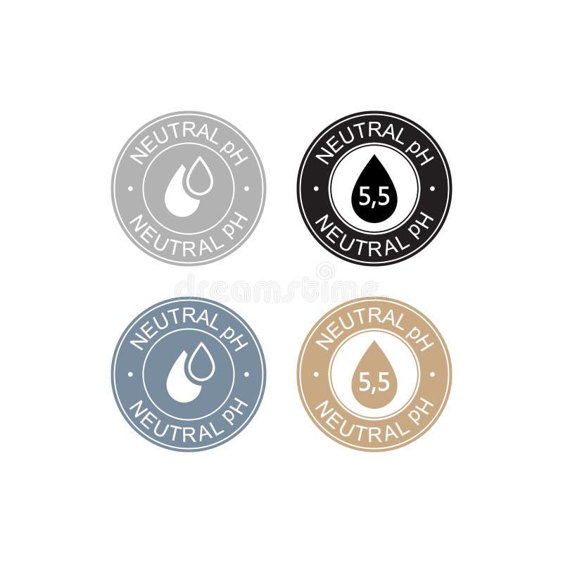 Ikona logo neutralnego bilansu pH dla szamponu lub śmietany Etykieta znaku z kropką royalty ilustracja
