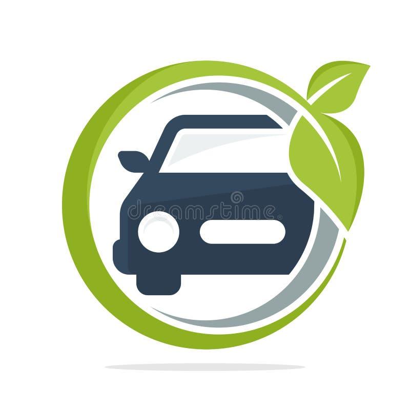 Ikona logo z ekologicznie życzliwym samochodowym pojęciem, eco samochód ilustracji