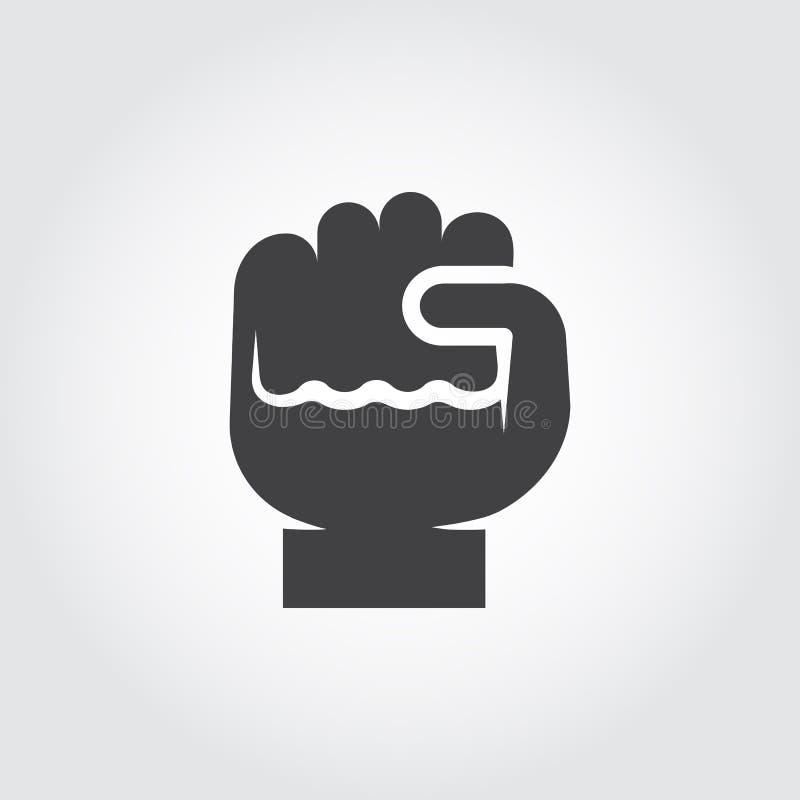 Ikona ludzka pięść - symbol przyrost, motywacja, ulepszenie Płaski logo knykieć Kontur zaciskający dotyka piktogram ilustracji