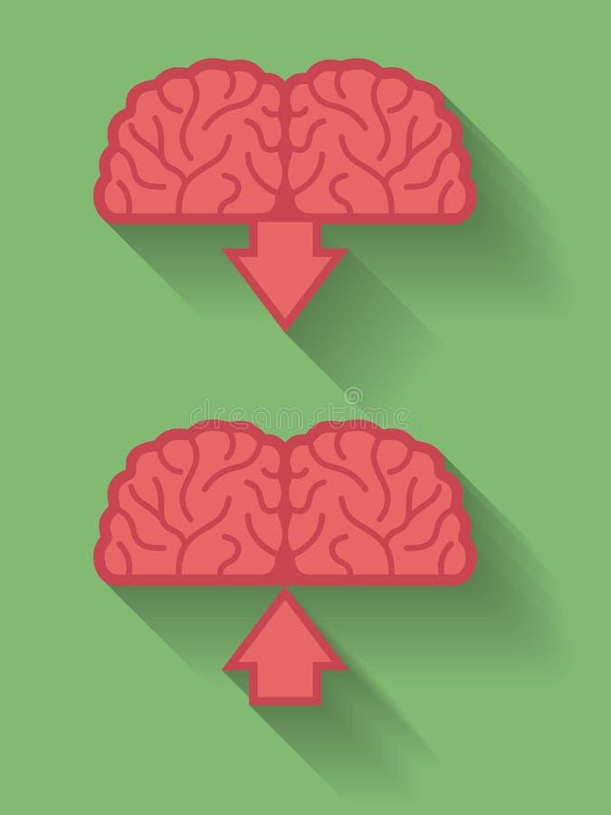 Ikona mózg, umysłu ściąganie lub upload i Mieszkanie styl ilustracji