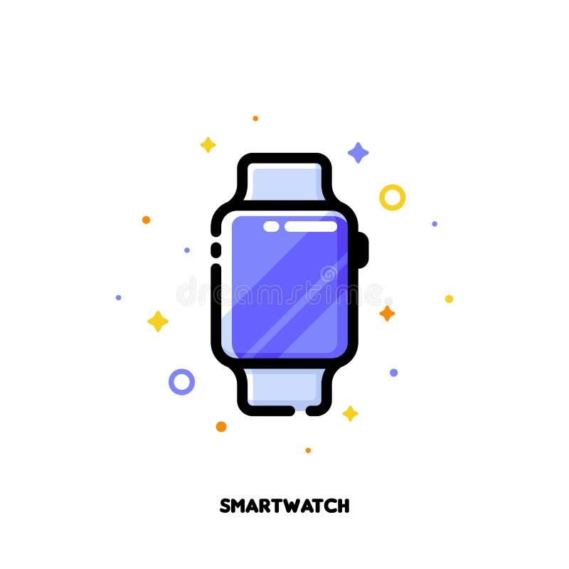 Ikona mądrze zegarek dla gadżetu pojęcia Mieszkanie wypełniający kontur ilustracja wektor