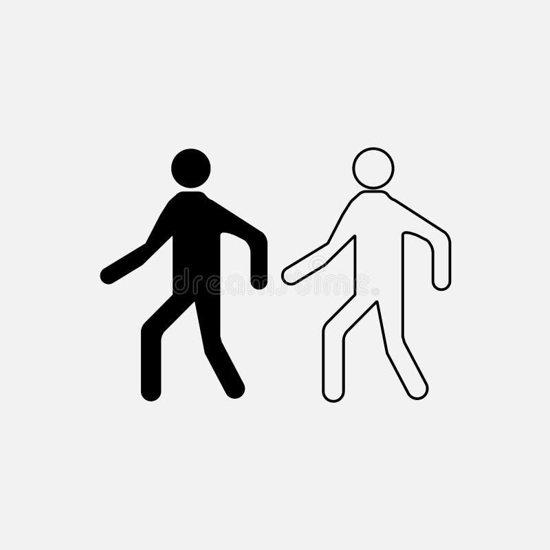 Ikona mężczyzna, odprowadzenie, pieszy ilustracja wektor