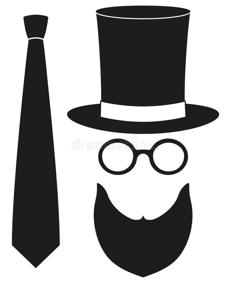 Ikona mężczyzna ojca tata dnia avatar plakatowego elementu szkieł ustalona wysoka kapeluszowa broda, bóbr, krawat sylwetka ilustracji