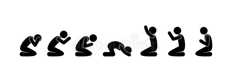 Ikona mÄ™skiej modlitwy, sylwetki ludzi na kolanach, piktogram figurki ilustracja wektor