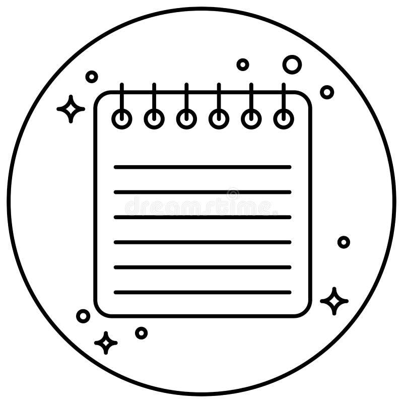 Ikona materiały Notatnik wśrodku okręgu Projekt dla stron internetowych i różnorodnych gadżetów ilustracji