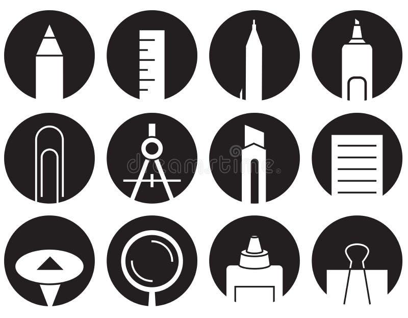 Ikona materiały w okręgach ilustracja wektor