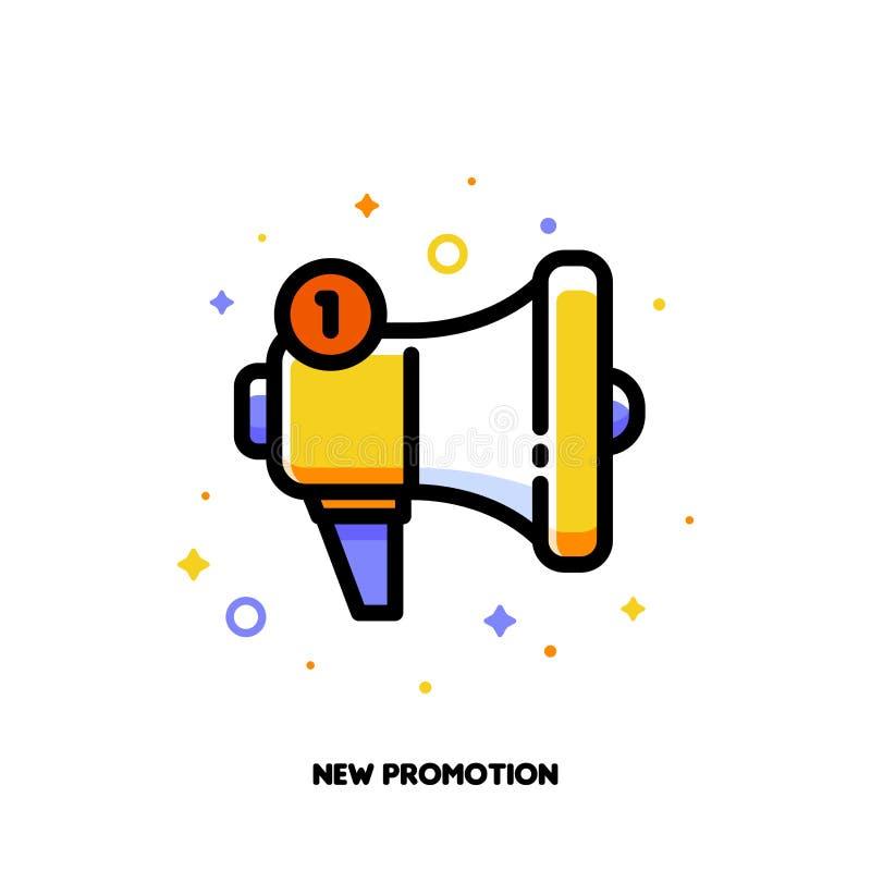 Ikona megafon dla nowego promocyjnego pojęcia Mieszkanie wypełniający kontur ilustracji