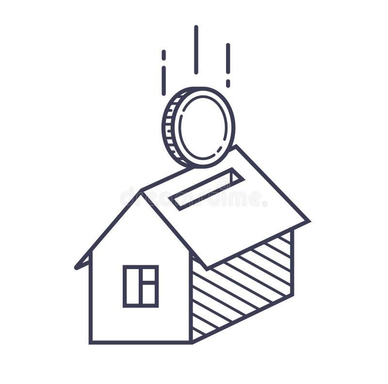 Ikona monety i dom symbolizowa? hipotek? i budow? royalty ilustracja