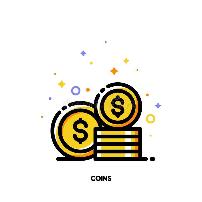 Ikona monety sterta dla pieniądze pojęcia Mieszkanie wypełniający konturu styl ilustracji