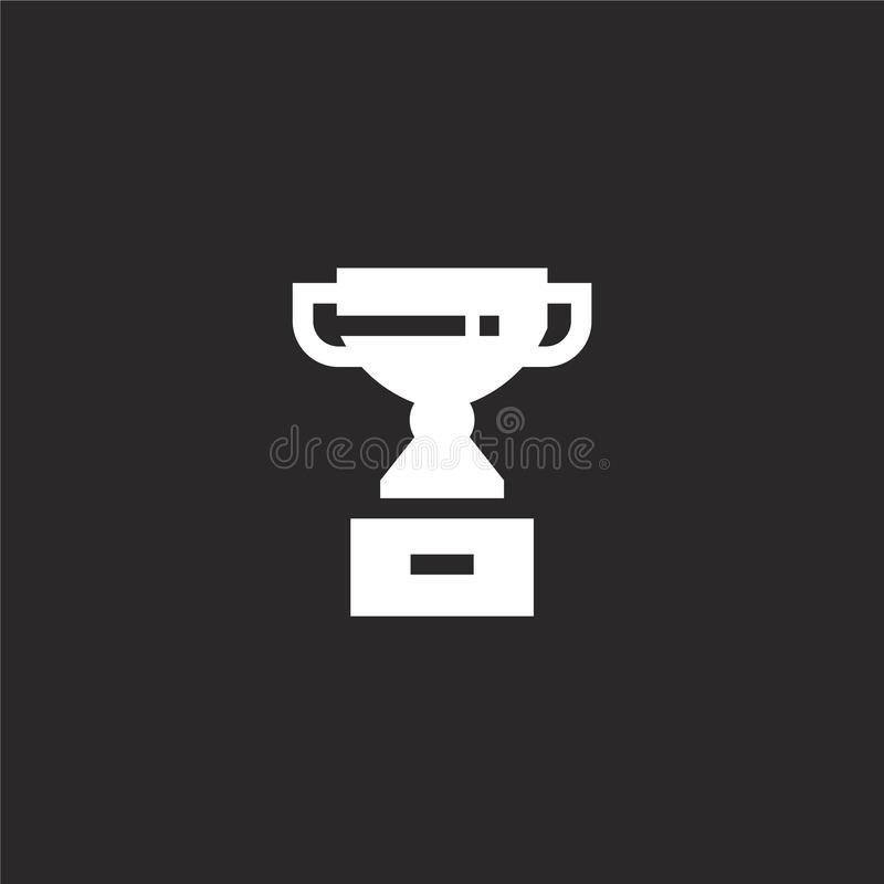 ikona nagrody. Ikona wypełnionego trofeum na potrzeby projektowania witryn internetowych i urządzeń przenośnych, tworzenia apl ilustracji
