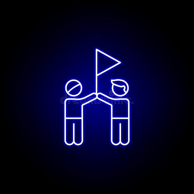 ikona niebieski neon konspektu sukcesu flagi znajomych Ikona linii elementów przyjaźni Znaki, symbole i wektory mogą być używane  ilustracja wektor