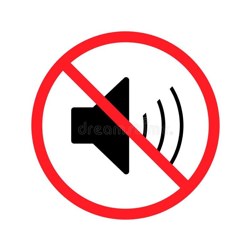 Ikona no sound Symbol wyłączenia głośności Ilustracja z płaskim wektorem ilustracji