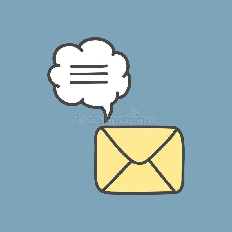 Ikona nowa poczta koperta Biała poczty koperta z markiera Jeden wiadomością Znak poczty koperta na błękit mennicy tle i ilustracji