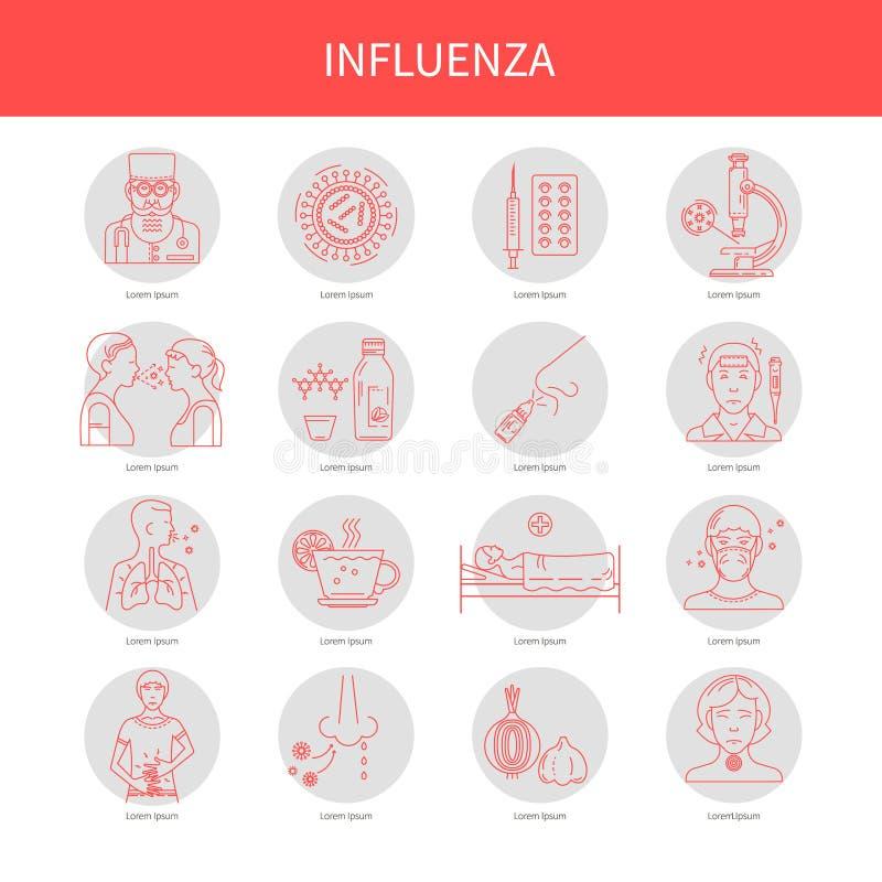 Ikona objawy i zapobieganie choroby ilustracja wektor