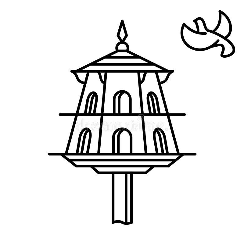 Ikona obrysu dovecota Dom dla ptaków ilustracja wektor