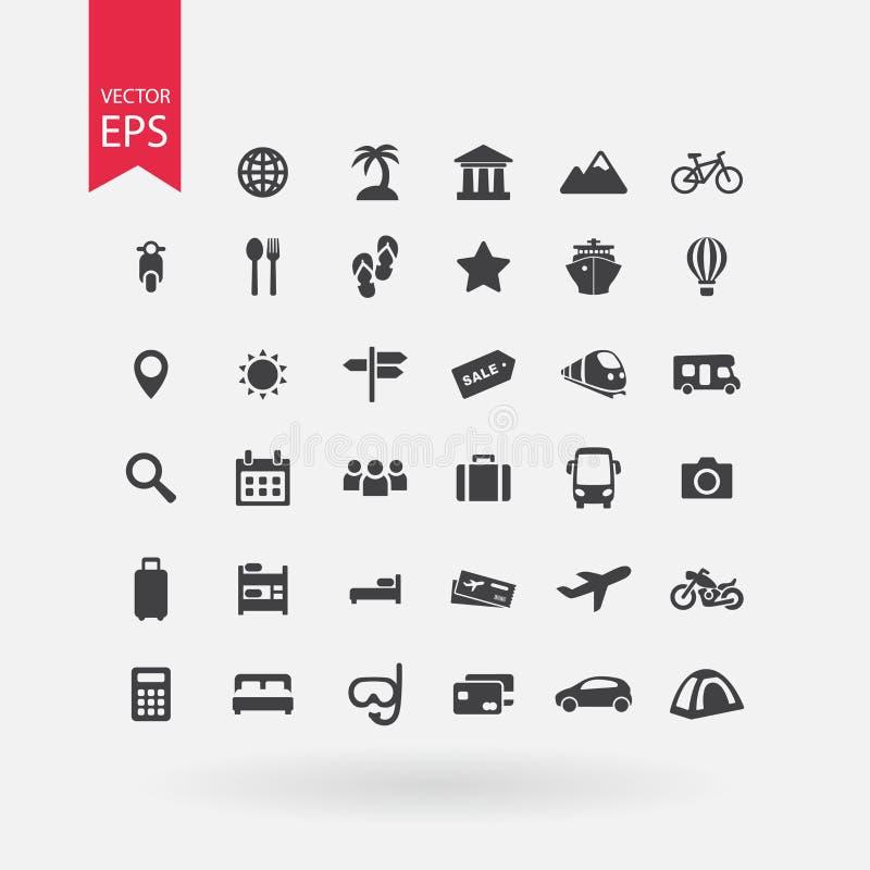ikona określonych podróży kolekcja podpisuje turystykę Urlopowi symbole na białym tle Płaski projekta styl ilustracji