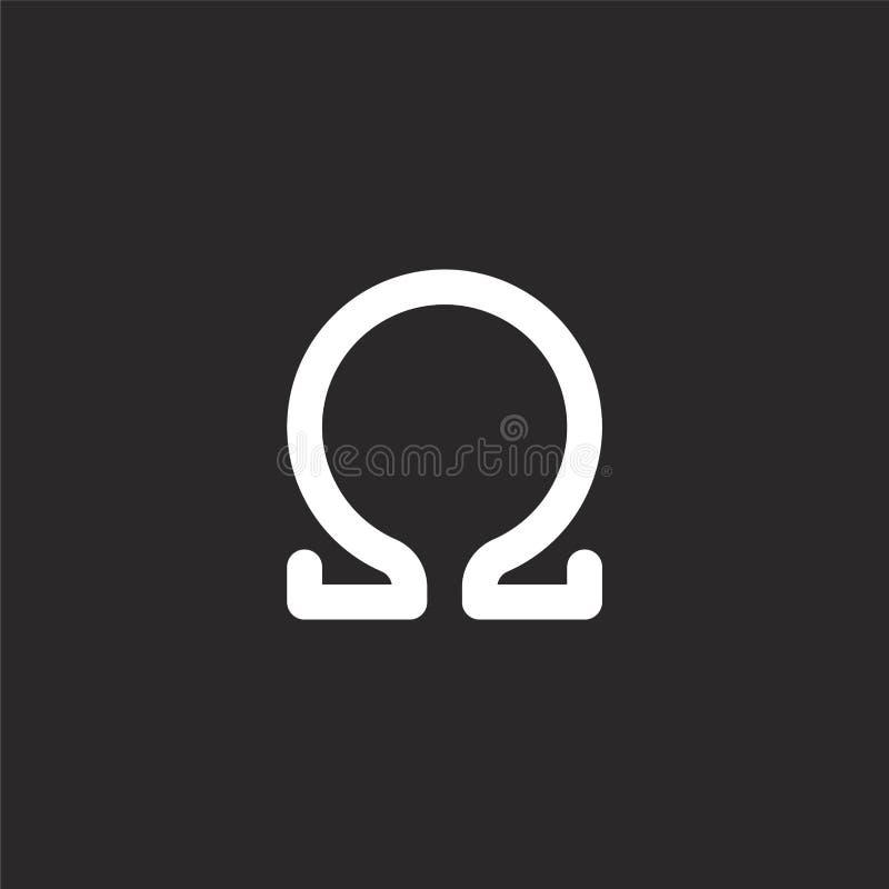 ikona omega. Wypełniona ikona omega do projektowania witryn internetowych i urządzeń przenośnych, tworzenia aplikacji. Ikona o ilustracja wektor