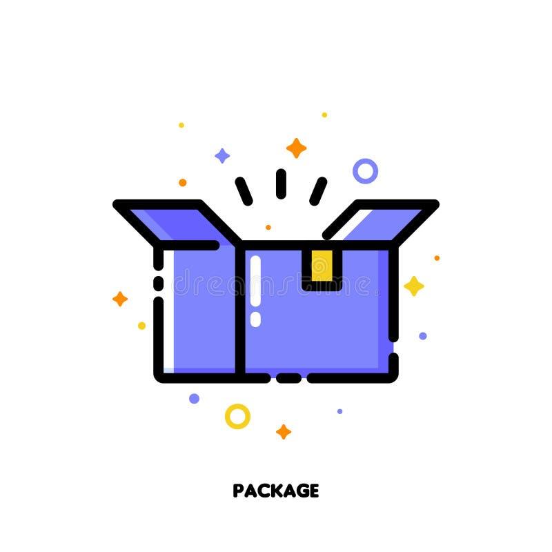 Ikona otwarty kartonu pakunku pudełko który symbolizuje dostarczającego pakuneczek dla robić zakupy i detaliczny pojęcia Mieszkan ilustracji