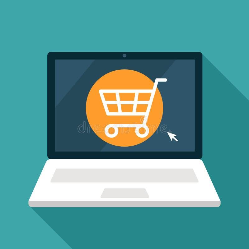 Ikona otwarty online sklep przez laptopu pojęcie nowożytny handel P?aska wektorowa ilustracja royalty ilustracja
