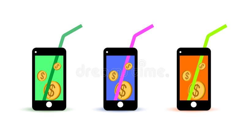 Ikona pieniądze na rachunku telefonicznym ilustracja wektor