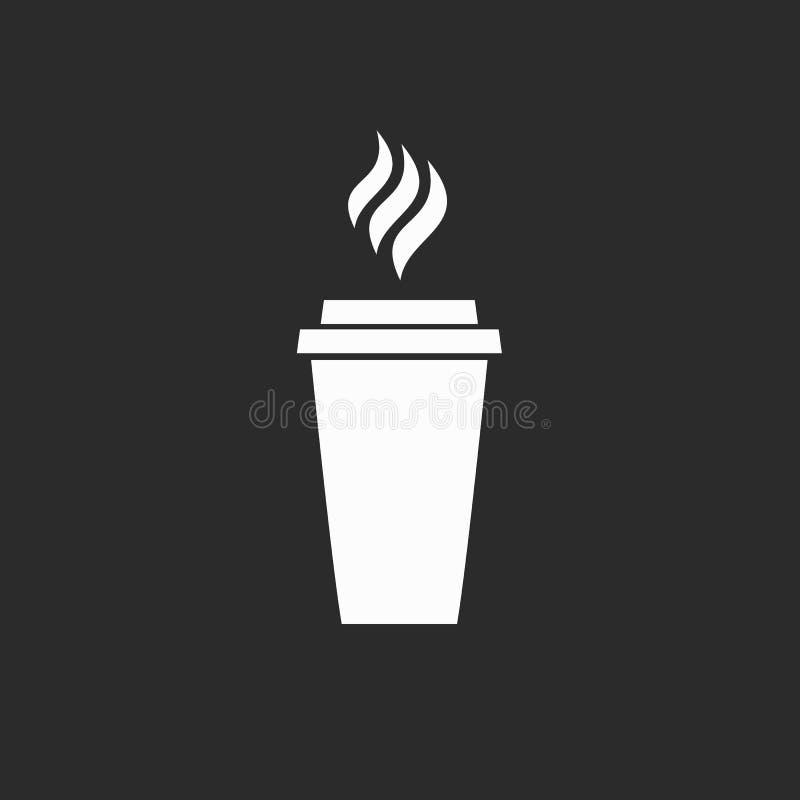 Ikona pije napoju lunchu menu cappuccino restauracyjnego cukiernianego latte białego loga na czarnym tle kawowa kawiarnia ilustracji