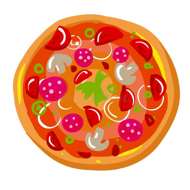 Ikona pizza plasterek z skorupa gościem restauracji w Włoskiej restauraci - ilustracji