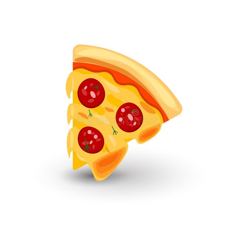 Ikona pizza z kiełbasą Wektorowa ilustracja plasterek pizza w kreskówka stylu Odosobniona ikona na bielu polu royalty ilustracja