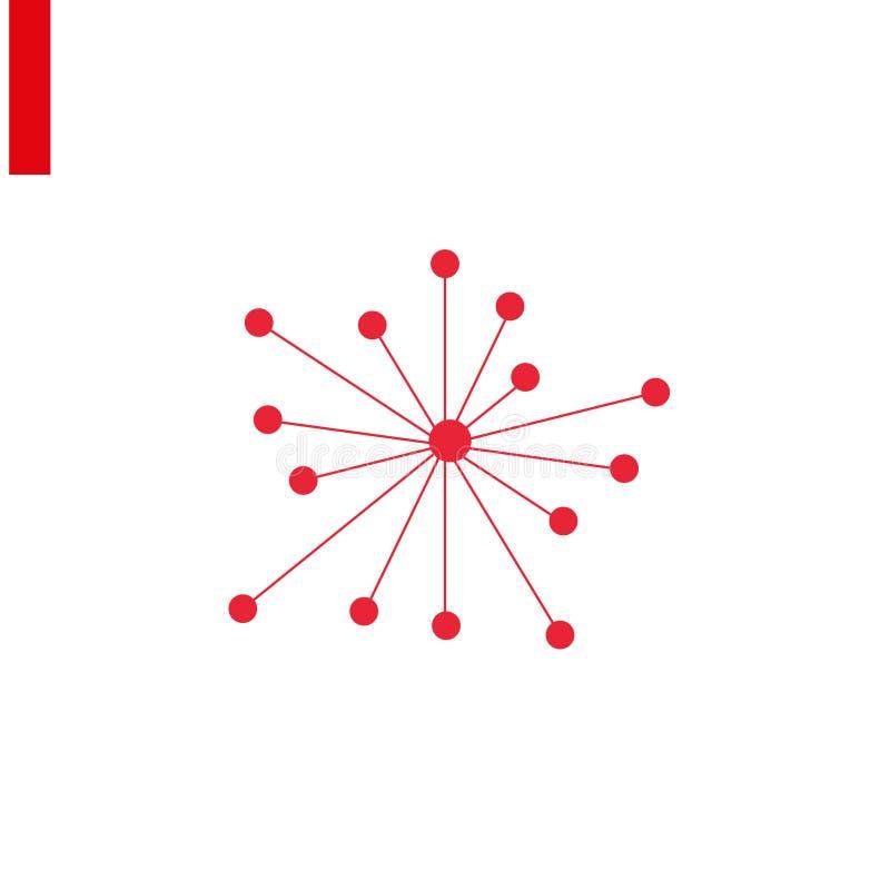 Ikona połączenia Sieć koncentratora czerwonego z wektorem, zaprojektowana dla interfejsów WWW i programowych Symbole płaskich ilustracja wektor