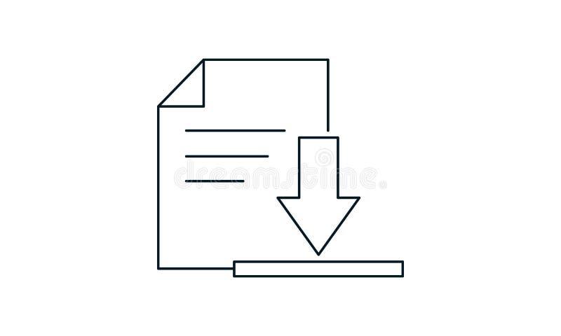 Ikona pobierania dokumentu Symbol graficzny płaskiego stylu royalty ilustracja