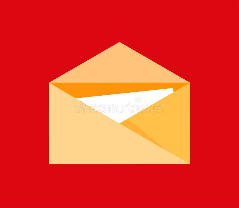 Ikona poczta listowy symbol w mieszkanie stylu dla emaila interfejsu lub logo odizolowywający na czerwonym tle - wektorowa ilustr ilustracja wektor