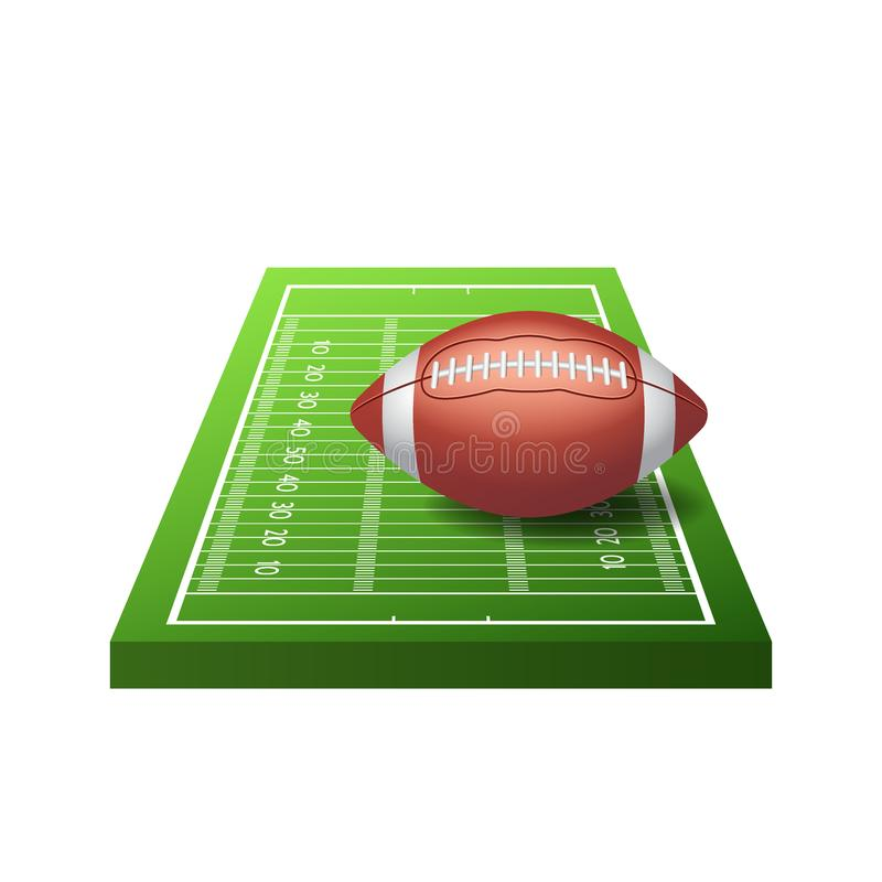 Ikona pola futbolu amerykańskiego z zieloną trawą i kulą wyizolowaną na białym tle, ilustracja wektorowa ilustracji