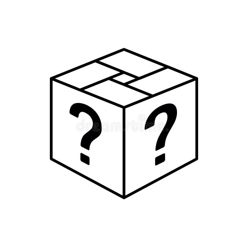 Ikona pola rozruchowego Kwadratowe pole konspektu sześcianu ze znacznikami zapytania Niespodzianka ilustracji