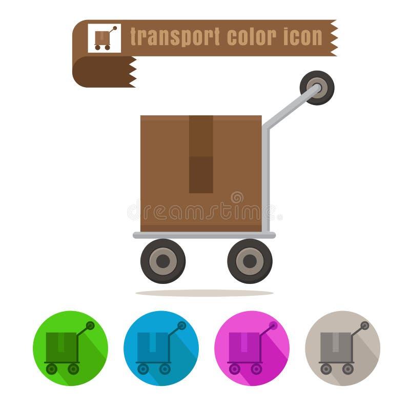 Ikona projekta przewieziony drobnicowy kolorowy wektor na białym tle ilustracja wektor