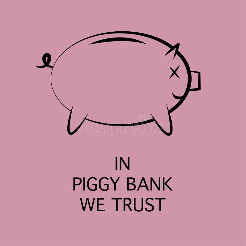 Ikona prosiątko bank dla pieniądze oszczędzania ilustracja wektor