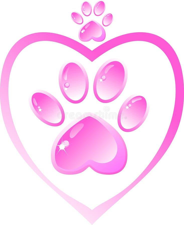 Ikona - różowa łapa z sercem ilustracja wektor