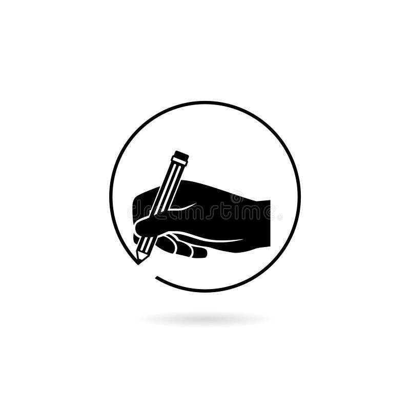 Ikona ręki do pisania, izolowana na białym tle royalty ilustracja