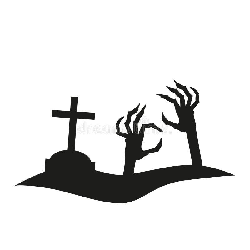 Ikona ręki dojechanie od grób royalty ilustracja