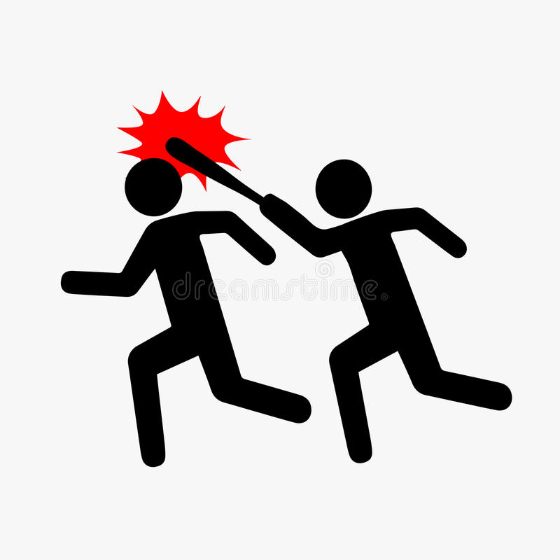 Ikona rabunek, piktogram przemoc Mieszkanie styl Jeden symbolicznie rysująca osoba łapie up i bije inny z kijem ilustracji