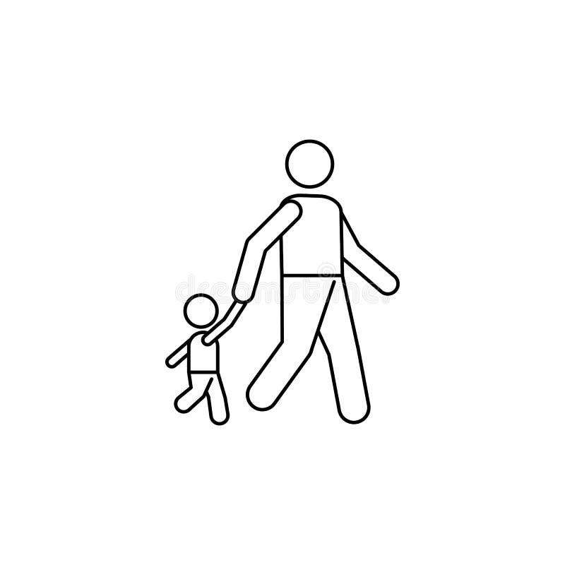 Ikona, rodzina, linia, ojciec, syn, ludzie, dziecko, kontur, wektor, istota ludzka, kobieta, tło, ilustracja, mężczyzna, symbol,  royalty ilustracja