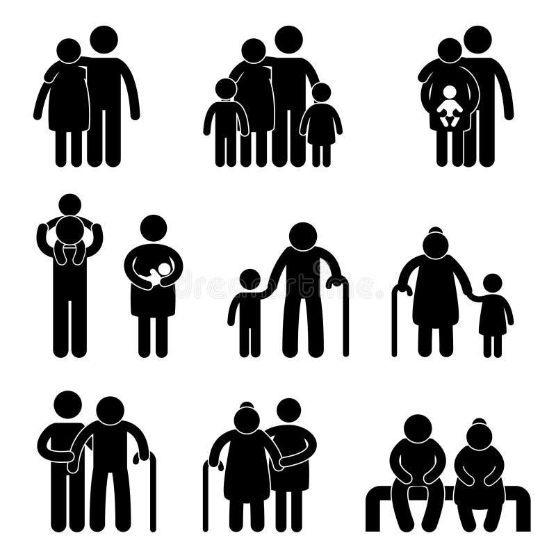 ikona rodzinny szczęśliwy piktogram royalty ilustracja