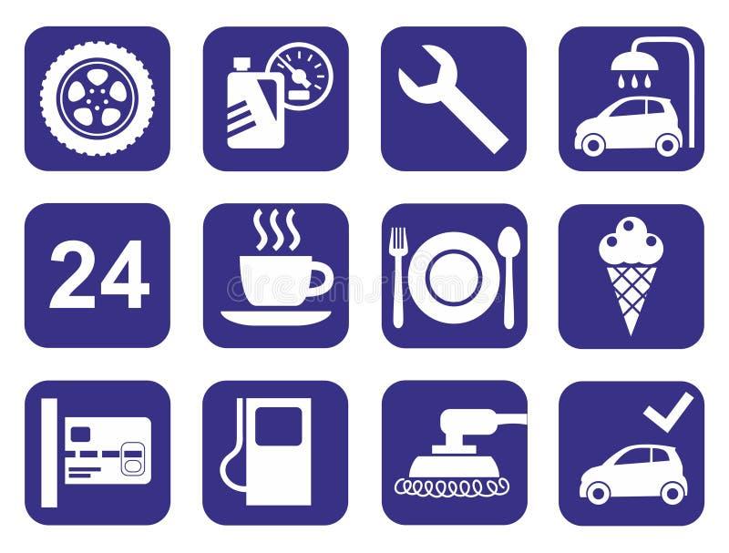 Ikona samochodu usługa, samochodowy obmycie, froterowanie, opona, kawiarnie, monochrom, mieszkanie royalty ilustracja